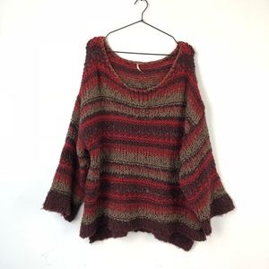 Free People • Red Striped Chunky Knit Sweater Sz M